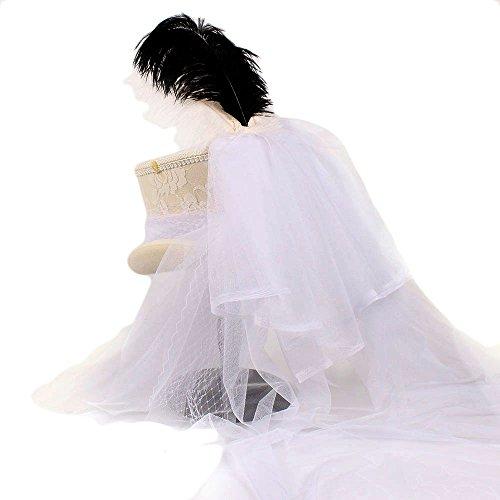 De color Blanca Sombrero 1 Blanco Qianhaoqju Ivory Lana 1 Mujer Y Gothic Steampunk Lace 55cm Gasa Victorian Con Copa Pluma Tamaño Novia T5xgqndwxp