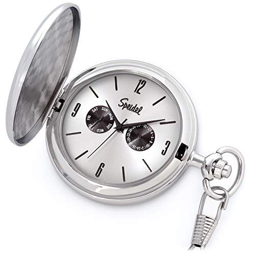 Speidel Classic Brushed Satin Silver-Tone Engravable Pocket Watch with 14'' Chain, Silver Dial, Seconds Hand, Day and Date Sub-Dials by Speidel (Image #2)
