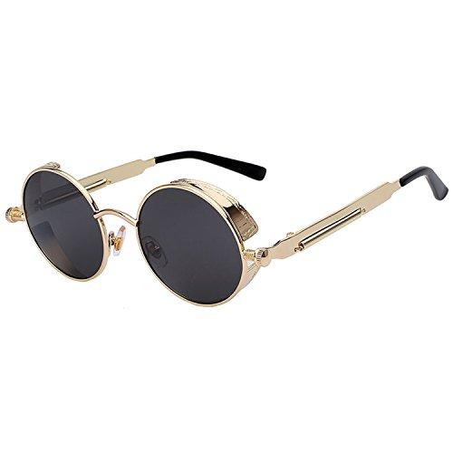 Round Sunglasses for Men Women Steampunk Retro Fashion UV400 (gold frame black - Steampunk Glasses Reading