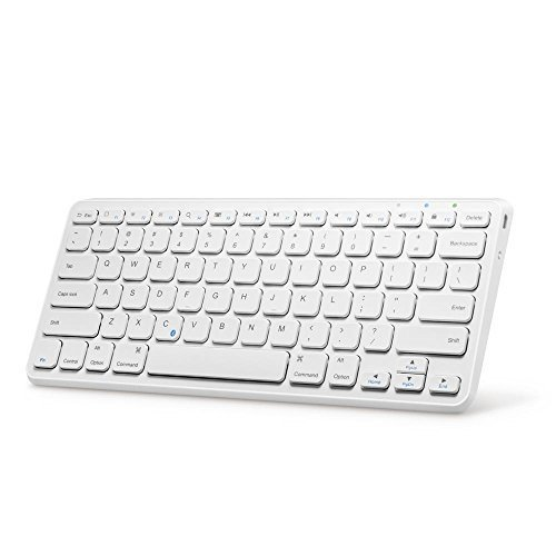Anker Ultra Compact Slim Profile Wireless Bluetooth Keyboard for iOS, Android, Windows and Mac with Rechargeable 6-Month Battery (White)