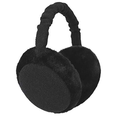 Flammi Women Men Faux Furry Earmuffs Winter Outdoor Foldable Ear Warmers (#2 Black)