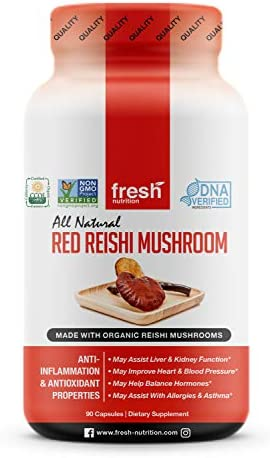 Organic Reishi Mushroom Capsules – Strongest DNA Verified Formula – Rich in Alpha Glucan – Red Reishi Mushrooms – Ganoderma Lucidum Ganoderma Applanatim – Third Party Tested – 90 Capsules Pills