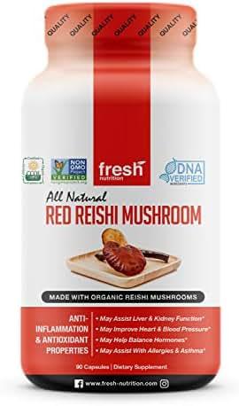 Organic Reishi Mushroom Capsules - Strongest DNA Verified Formula - Organic Red Reishi Mushrooms - Ganoderma Lucidum & Ganoderma Applanatim - Third Party Tested - 90 Capsules/Pills