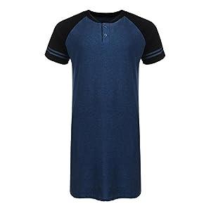 Imposes Men Cotton Nightshirt Raglan Sleeve Loose Sleep Shirt Home Sleepwear Comfy Nightgown