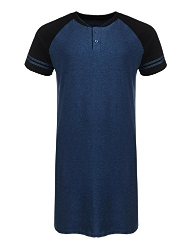 Aimado Mens Nightshirt Short Sleeve Sleepwear Henly Sleepshirt Pajamas (Blue, Medium)