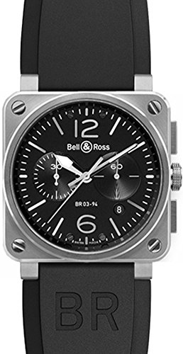 Bell & Ross Men's BR03-94-STEEL Aviation Black Rubber Strap Watch