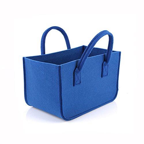 HomeYoo Firewood Basket, Shopping Basket, Felt Log Bag,Cloths Bags, Laundry Hamper Baskets with Handle for Carry Wood,Toys,Newspaper,Go Shopping,etc (Blue) - Felt Bucket