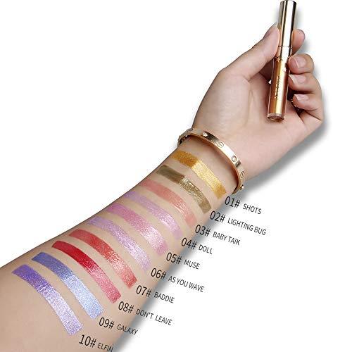 10Pack Lip Gloss Collection Liquid Metal Texture Lipstick Waterproof Long-lasting Velvet Lipgloss Makeup Set (10-2)