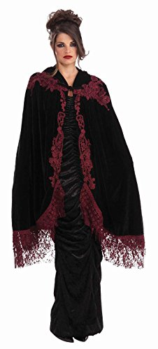 Gothic Maiden Womens Costumes (Forum Novelties Women's 45-Inch Velvet Lace Vampiress Cape, Black, One Size)