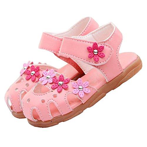 hibote Kinder Mode Sandalen Baby Mädchen Kids Sommer Suitable Schuhe PU Kuh-Muskel Sole Niedlich Stil Schuhe Rosa