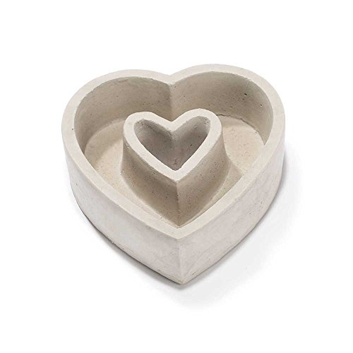 Heart Shaped Two Section 5.75 x 5.75 Inch Cement Outdoor Garden Planter -