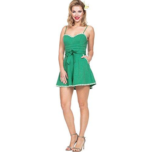 Womens-Voodoo-Vixen-JAYNE-Daisy-Trimmed-Playsuit-Green