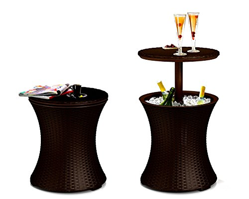 Cool Bar Rattan Coffee Table Storage Adjustable Round Curved Resin Side Weatherproof Water Resistant Lawn Garden Multipurpose   Ebook By Easy Fundeals