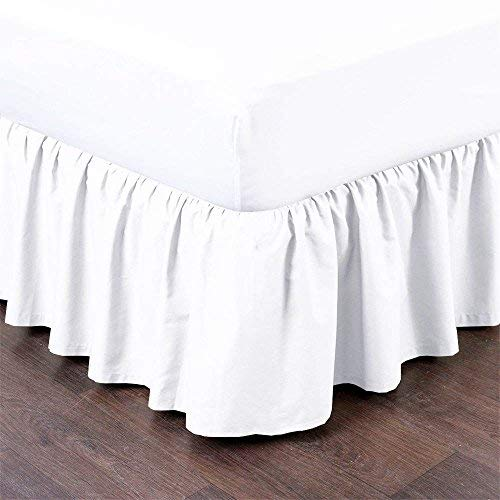 Ruffled Bed Skirt with Split Corners Three Side Coverage, Easy fit, Made Brushed Microfiber (Queen 18 inches, White) (Skirts Bed Ruffled)