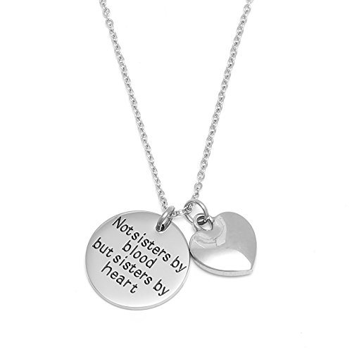 Best Friends Necklace Not Sisters by Blood But Sisters by Heart Bracelet Sister Jewelry BFF(Necklace)