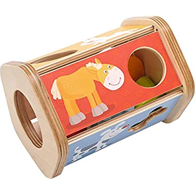 HABA Snack Stack Sorting Box - Five Sided Wooden Shape Sorter Matches Animals to Their Favorite Foods: Toys & Games
