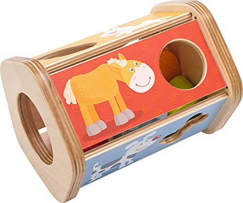 (HABA Snack Stack Sorting Box - Five Sided Wooden Shape Sorter Matches Animals to Their Favorite)