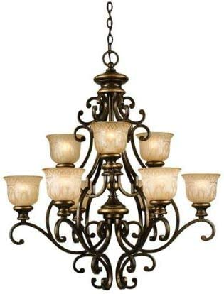 Crystorama 7409-BU Wrought Iron Nine Light Chandelier from Norwalk collection in Bronze Darkfinish,