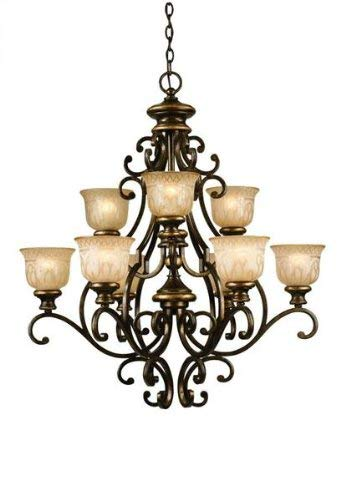 Crystorama 7409-BU Wrought Iron Nine Light Chandelier from Norwalk collection in Bronze/Darkfinish,