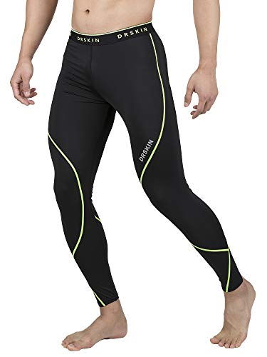 DRSKIN Men's 1~3 Pack Compression Dry Cool Sports Tights Pants Baselayer Running Leggings Yoga (L, Twin B-LG01) - Best Running Tights