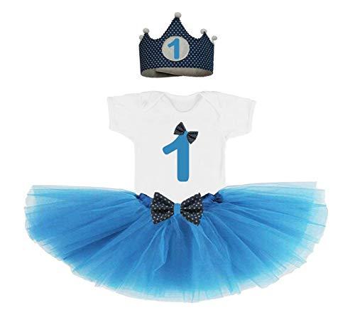 Conjunto primer cumpleaños 1 año bebes niñas azul (corona + ...