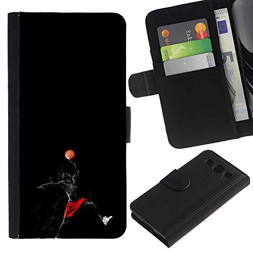 Funny Phone Case // Leather Wallet Protective Case with Slots for Money & Cards fit Samsung Galaxy S3 III I9300 /Superhero Basketball Player/