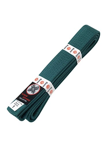 Ronin Brand Martial Arts Uniform Solid Colored Rank Belt - Yellow, Green, Orange, Blue, Purple, Red, Brown, Black in Quality (Green, 7)