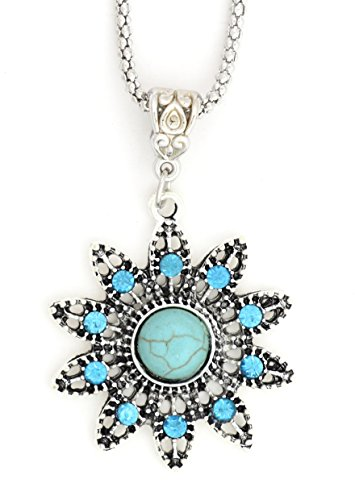 Magic Metal Turquoise Flower Pendant Necklace Silver Tone NS13 Howlite Crystal Sunburst Fashion Jewelry
