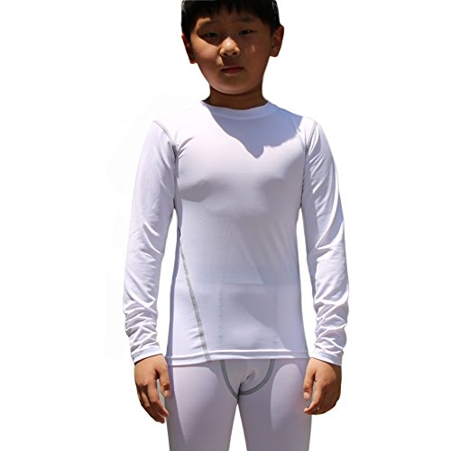 LANBAOSI Boys&Girls Long Sleeve Compression Soccer Practice T-Shirt (7, White)