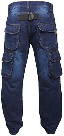 Newfacelook Denim Motorcycle Motorbike Armour Cargo Jeans Trousers With Aramid Protection Lining