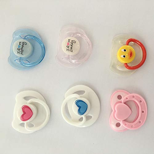 Zero Pam 6 pcs Magnetic Pacifier, Used for Reborn Baby Doll, Tiny Acrylic Dummy Pacifiers for Replace Newborn Reborn Doll Kits Supplies 6 coulours Available