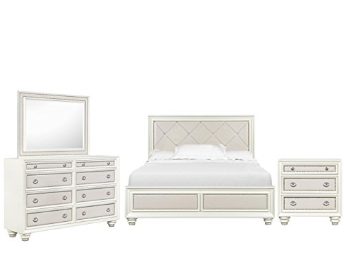Magnussen Diamond Bedroom Set with California King Bed, Nightstand, Dresser and Mirror