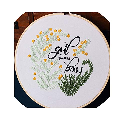 DIY Embroidery Kit Needlework with Hoop for Beginner Kits Patterns Cross Stitch Sewing Handmade Home Decor,A,20CM Bamboo Hoop ()