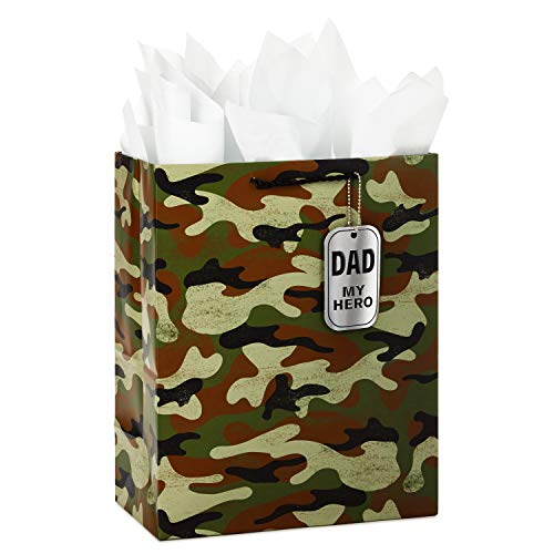 Hallmark Large Father's Day or Birthday Gift Bag with Tissue Paper (Camo, My Hero) ()