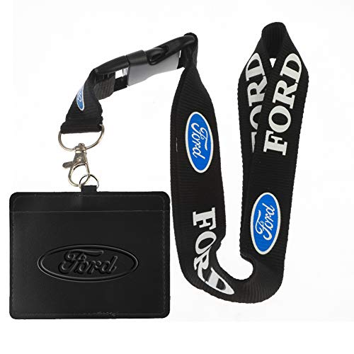 Faux Leather Business ID Badge Card Holder with Keychain Lanyard (for)