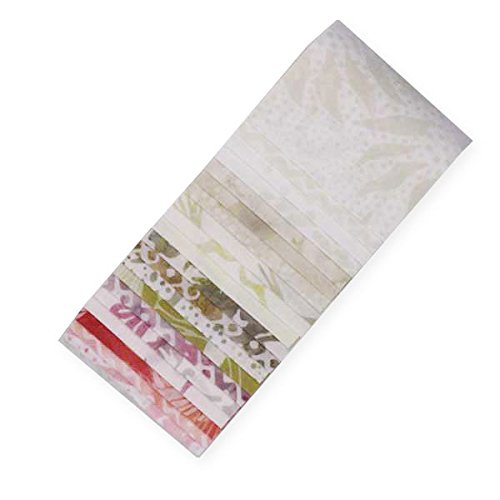 Bali Batiks Fresh Linen Bali Poppy 20 2.5-inch Strips Jelly Roll Hoffman Fabrics (Hoffman Bali Batik Quilt Fabric)