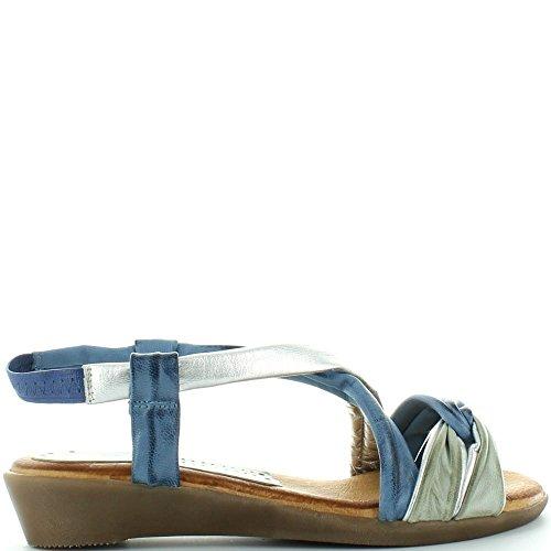en Multi Jolies Marila Sandale Elsa Blue 407 de Couleurs Strappy Cuir wTxIa