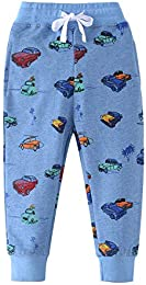 Baby Boy Car Print Pants Drawstring Elastic Sweatpants  5T height100-110cm 38-42inch   Blue   Car