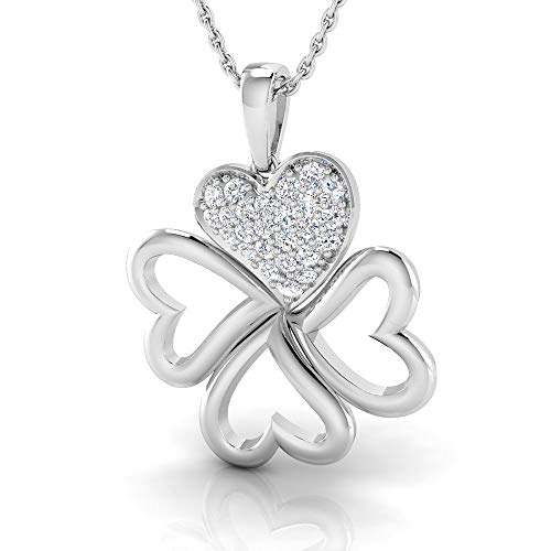 IGI Certified 1/4 Carat Natural Diamond Sterling Silver Clover Pendant with Chain for Women (I-J Color, I2-I3 Clarity) ()