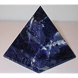 "AAA Grade Sodalite Pyramid Size Approx. 1.75-2"" Inch- Throat chakra Reiki Healing GemStone Crystal - Energized crystal Balancer generator Reiki Healing Pyramid - A high quality product from US Seller"