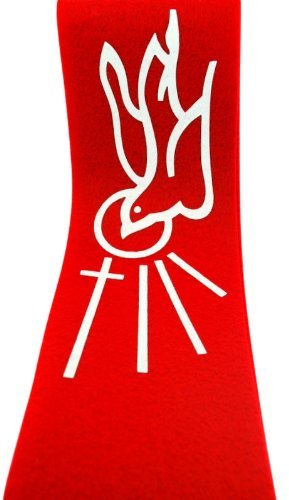 Religious Gifts Catholic Church Ceremony Descending Dove with Cross and Rays 45 Inch Red Felt Confirmation Stole -