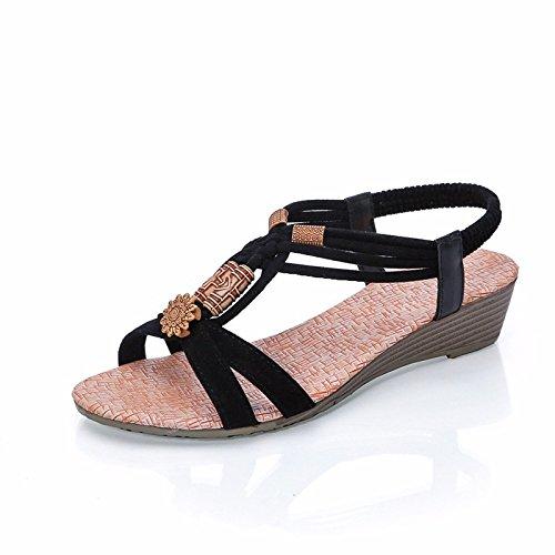 XIAOGEGE Zapatillas fresca terraza de verano y una sola zapatilla moda mujer sandalias Negro
