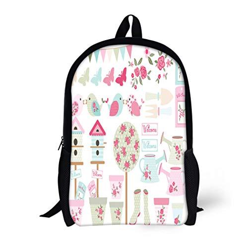 (Pinbeam Backpack Travel Daypack Bunting Shabby Chic Bird Garden Party Vintage Tea Waterproof School Bag)