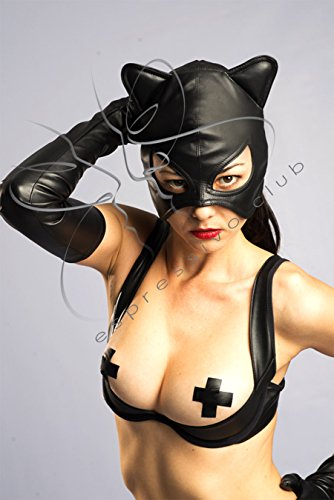 Catwoman mask / Leather Mistress mask / Female leather mask / Bad Кitten mask / Female submissive hood / Fetish Leather half-hood / Cosplay Pussycat costume / Female Party hood / SIZE M-L