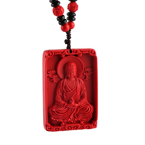 HZMAN Jewelry Hand Carved Natural Cinnabar Heart Sutra Pendant necklace Buddha Goddess of Mercy Dragon Phoenix Set (Amitabha Buddha & Heart Sutra)