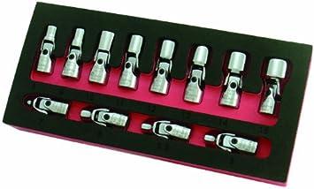 Metric Flexible Socket Set 1//4-Inch 6 Point Drive Mechanic Tool Swivel 12-Piece