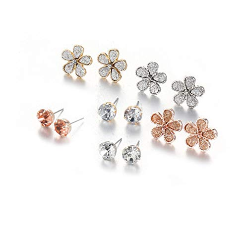 Stud Earrings Set for Girls Women Silver Gold Crystal Pearl CZ Assorted Boho Piercing Assorted Bead Charms Multiple Vintage Earring Valentine Birthday Christmas Gifts ()