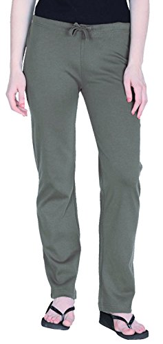 Womens Organic Cotton Pilates Pajama Yoga Pants GOTS Certified (Olive, L)