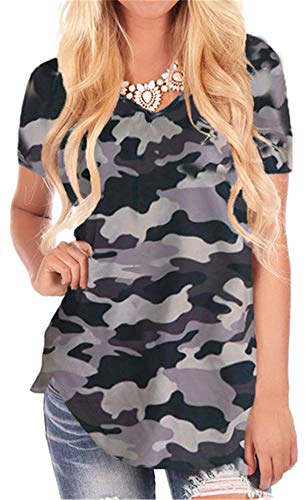 onlypuff Women Tee Shirts for Leggings Short Sleeve Floral Print Camouflage Summer Tunic Tops XXL ()
