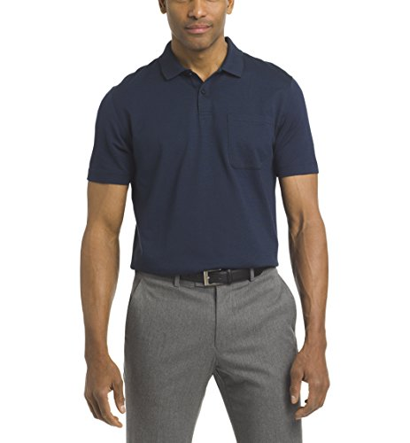 Textured Golf Jacquard - Van Heusen Men's Short Sleeve Jacquard Stripe Polo Shirt, Majestic Blue, XX-Large